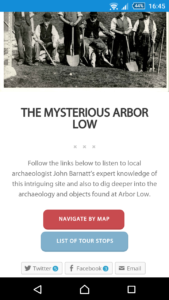 "The ""Mysterious Arbor Low"" tour on the Buxton Museum apps site screenshot"