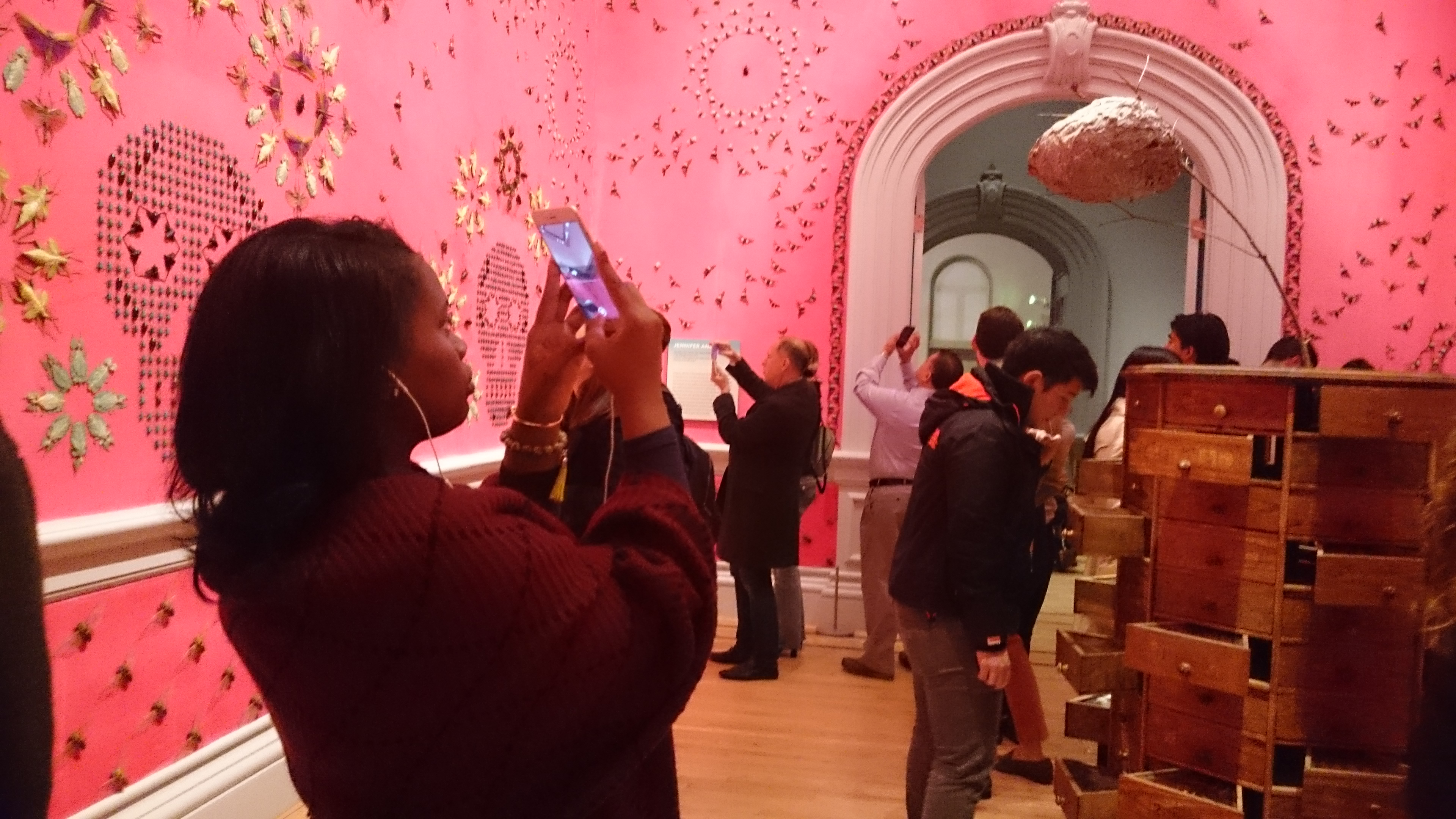 Picture of artwork and person taking photo in the Renwick Gallery