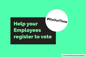 #ItsOurTime logo. Help your employees register to vote