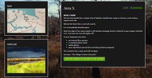 Screenshot from Join Southern Reach showing a map on the top left, a web cam of windswept fields below, and a text box with scene setting instructions on the right