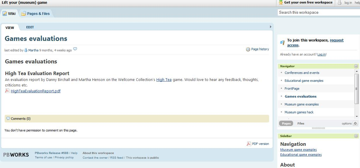 Games evaluation page on the museum games wiki