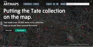 """A screenshot of Artmaps, with a map background and the subtitle """"Putting the Tate Collection on the map"""""""