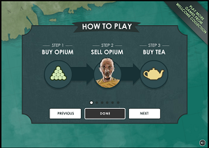 """A screenshot from High Tea, showing a """"how to play"""" page and the instructions: """"step 1, buy opium, step 2, sell opium, step 3, buy tea""""."""
